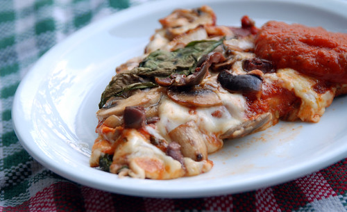 Pizza with Mushrooms, Olives and Onions