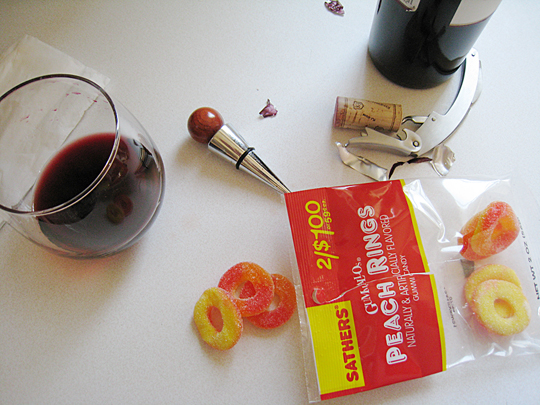 peach ring candies and wine