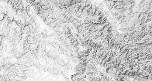 Hillshade map tile of Ayacucho, Peru
