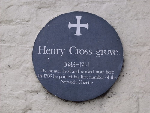 Temple Bar Freehouse - Norwich (formerly The Tuns Public House) - plaque of Henry Cross-Grove