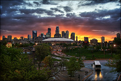 minneapolis, mn minnesota downtown sunset (Dan Anderson (dead camera, RIP)) Tags: city sunset sky storm wet rain minnesota skyline architecture clouds downtown day cityscape minneapolis stormy bluehour twincities mn downtownminneapolis minneapolisskyline dananderson