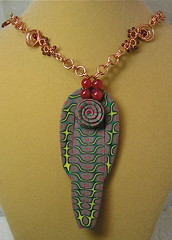 Polymer Clay & Wire Pendant (auntgriz) Tags: necklace mixedmedia polymerclay pendants coloredwire knightworkstudio