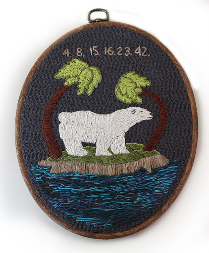 LOST polar bear embroidery