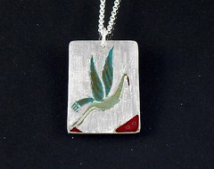 """""""Crane"""" Enameled Silver Necklace (EfratJewelry) Tags: silver handmade jewelry jewellery sterling 925 enamel silversmith metalsmith sterlingsilver           efratjewelry"""