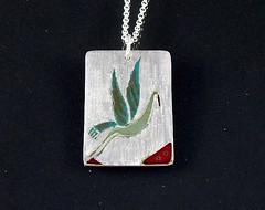 """Crane"" Enameled Silver Necklace (EfratJewelry) Tags: silver handmade jewelry jewellery sterling 925 enamel silversmith metalsmith sterlingsilver כסף סטרלינג תכשיטים שרשרת תליון תליונים שרשראות צורפות עיצובתכשיטים אמייל efratjewelry אמיילחם"