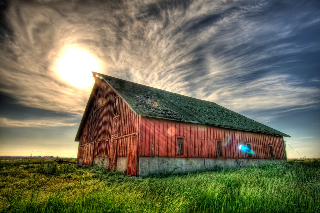 An abandoned barn in the country.