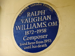 Photo of Ralph Vaughan Williams blue plaque