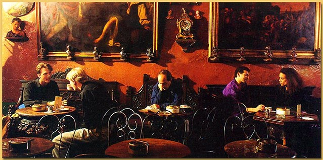 Picture accompanying article on Caffe Reggio - New York Magazine 1994