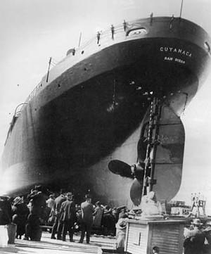 Botadura del barco de cemento Cuyamaca, el 12 de Junio de 1920
