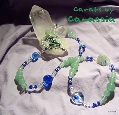 Frog and Blue Necklace (Carassia) Tags: blue green silver crystal jewelry frog carassia2010