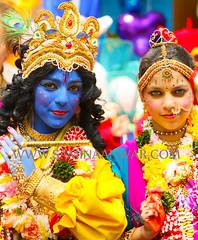 krishna & radha (Samina Anwar photography) Tags: family carnival blue music colour smile look fun religious gold dance eyes crowd culture peacock flute crown krishna hindu luton jewel radha