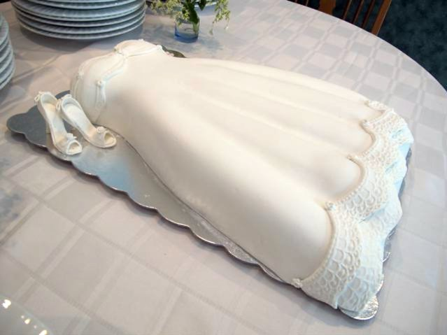 wedding dress cake and shoes for bridal shower
