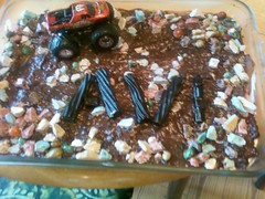 Avi's Monster Truck Cake (Marisa Lynn) Tags: birthday cake truck rocks chocolate pudding tires licorice monstertruck blacklicorice