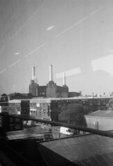 Olympus Trip 35 FP4 Battersea Powers Station from Train (Miles Davis (Smiley)) Tags: blackandwhite london film olympustrip35 batterseapowerstation ilfordfp4