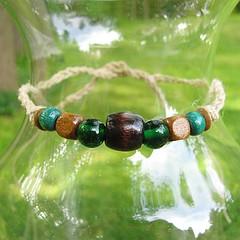 Wood Elf green and brown hemp bracelet or anklet