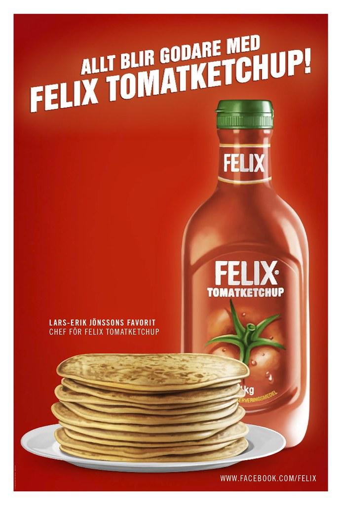 Pannkaka med Felix tomatketchup, annonsering utomhus