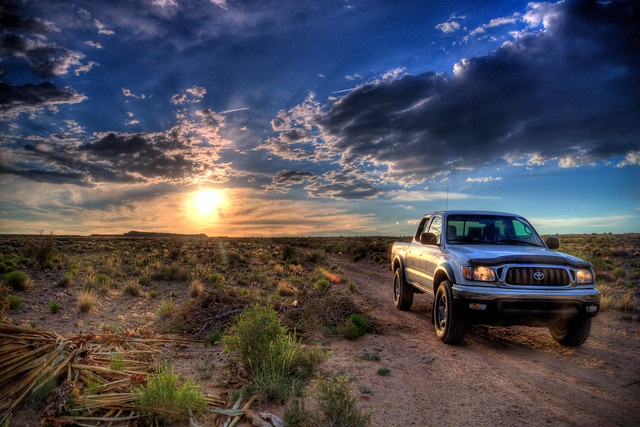 new sunset clouds mexico albuquerque toyota tacoma hdr