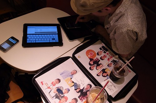 Publishing musics to online stores by iPad that connect softbank wifi in Macdonald