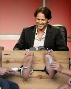 Stephen Moyer having his VERY ticklish feet tickled, during the TCA True Blood Convention