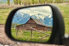 Rear View Moulton Barn (Jeff Clow) Tags: ranch barn rural landscape mirror rearviewmirror western wyoming rearview tetons gar grandtetonnationalpark mormonrow jacksonholewyoming moultonbarn jeffrclow thomasamoultonbarn