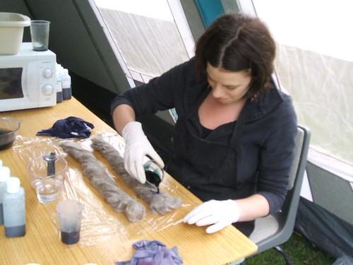 Megan hand-dyeing fibre