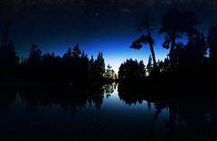 Natural Waveform (Dr. Wong) Tags: trees panorama lake mountains water glass silhouette night stars exposure time sierra