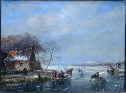 A study of a Dutch winter landscape with ice covered lake by Nicholas Johannes Roosenboom