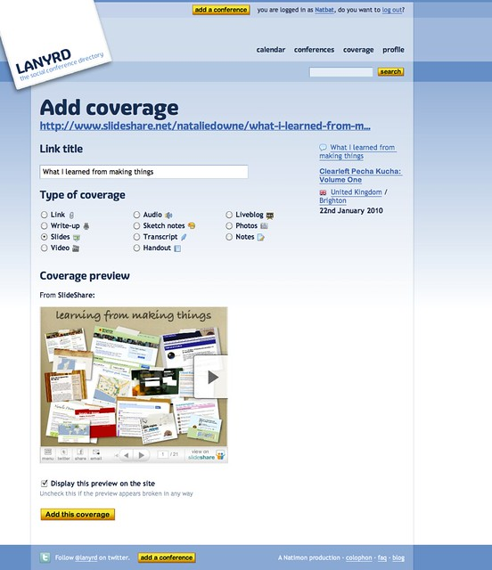 Adding Coverage on Lanyrd