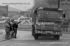 84052331 (Martin Jenkinson Images) Tags: uk greatbritain england monochrome truck unitedkingdom labor south yorkshire union police coke lorry national photograph 1984 gb labour conflict strike british tu 1985 trade scabs convoy scab num picket miners rotherham mineworkers southyorkshire 8485 yorks gbr dispute 826 tradeunion policing nationalunionofmineworkers minersstrike industrialdispute orgreave mineworker ©martinjenkinsonwwwpressphotoscouk