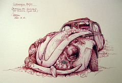 Volkswagen Kaefer sketch (picturesofmaya) Tags: auto old car pen ink vintage volkswagen sketch drawing sketchbook fountainpen draw buggy inkdrawing linedrawing kaefer diamine urbansketchers picturesofmyday discussingtheme weeklythemenov1420vintagecars diaminesyrahink