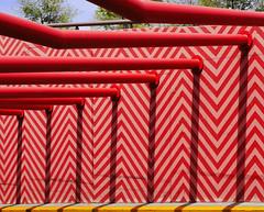 Entrance to a parking (chrisk8800) Tags: barcelona chrisk8800 entrance parking paintedlines metaltubes lines geometry shadows structure patterns composition