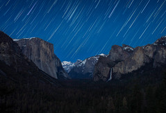 Star Trails over Yosemite Valley (NickSouvall) Tags: yosemite national park valley tunnel view views star trail trails trees el capitan cliff bridal veil falls waterfall blue sky night nightscape astro astrophotography photography photo nature landscape beautiful light dark