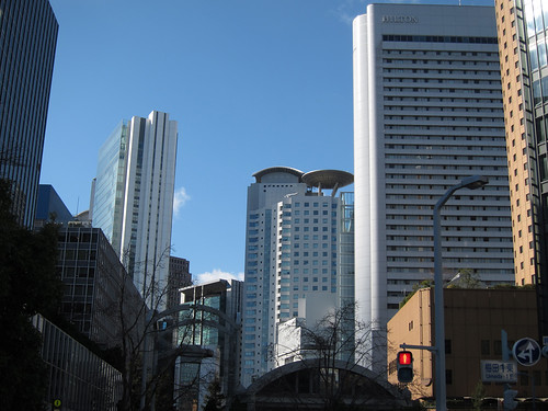 Umeda cityscape with the winter blue sky