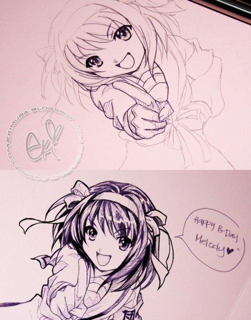 eki drawing Haruhi