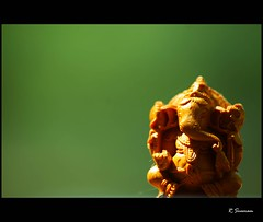 Ganapathi (R.Sreeram) Tags: light macro green god idol elephantgod safron ganapathi vigneswar vigneswaran