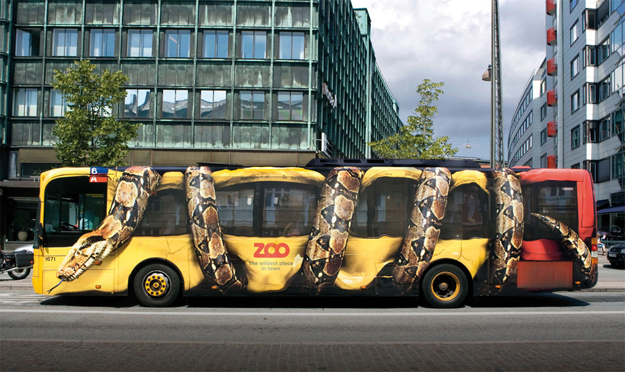 Snake in a Bus Ad Zoo