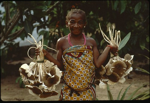 Mbuti woman with musrhooms
