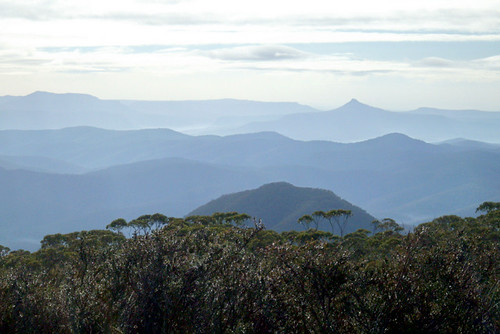 from Mount Budawang - distant scenery with Pigeon House Mountain