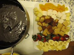 fruit and sweets platter for chocolate fondue