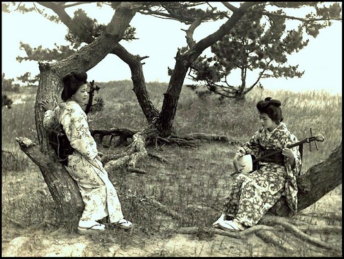 A GEISHA SERANADES HER SISTER UNDER THE PINES in OLD JAPAN