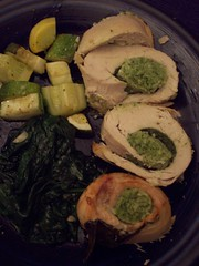 Plated stuffed chicken
