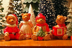Christmas Bears (contrarymary) Tags: christmas holiday glitter weihnachten holidays teddy christmastree ornament ornaments christmasdecorations teddybear santaclaus greetings claus merrychristmas teddybears christmasornaments seasonsgreetings vintagechristmas feliznavidad goodwishes froheweihnachten  gesegneteweihnachten vintagetreasures bottlebrushtrees  santaclausornament gordanfraser micatree