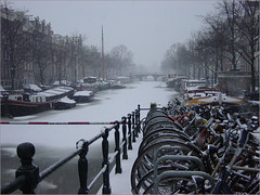 Cold, cold canal (Ab Wisselink) Tags: bridge winter snow cold holland ice amsterdam bike canal sneeuw brug amstel fiets gracht ijs koud sonydscp71