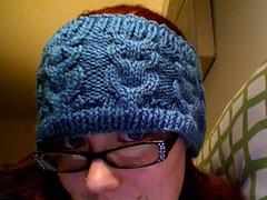 Photo 385 (kittything) Tags: birthday knitting cables gift fo aran owls headband earwarmers dustyblue ravelry vannaschoice