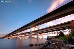 Convergence (djniks) Tags: seattle bridge lake washington long exposure stephen i90 bellevue hdr waterscape nikky sigma1020 canon40d bw110ndfilter nikkystephen
