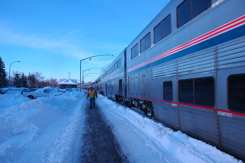 A snowy stop