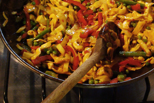 Hot chilli bean stir fry with noodles