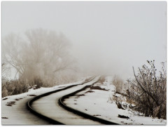 nothingness (buckchristensen) Tags: railroad winter snow ice fog train landscape traintracks tracks freezing iowa explore rails frontpage councilbluffs myhandsgotsocoldihadtotakeabreaktogototargetandbuygloves