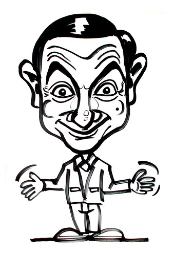 Mr Bean caricature in black marker quick sketch