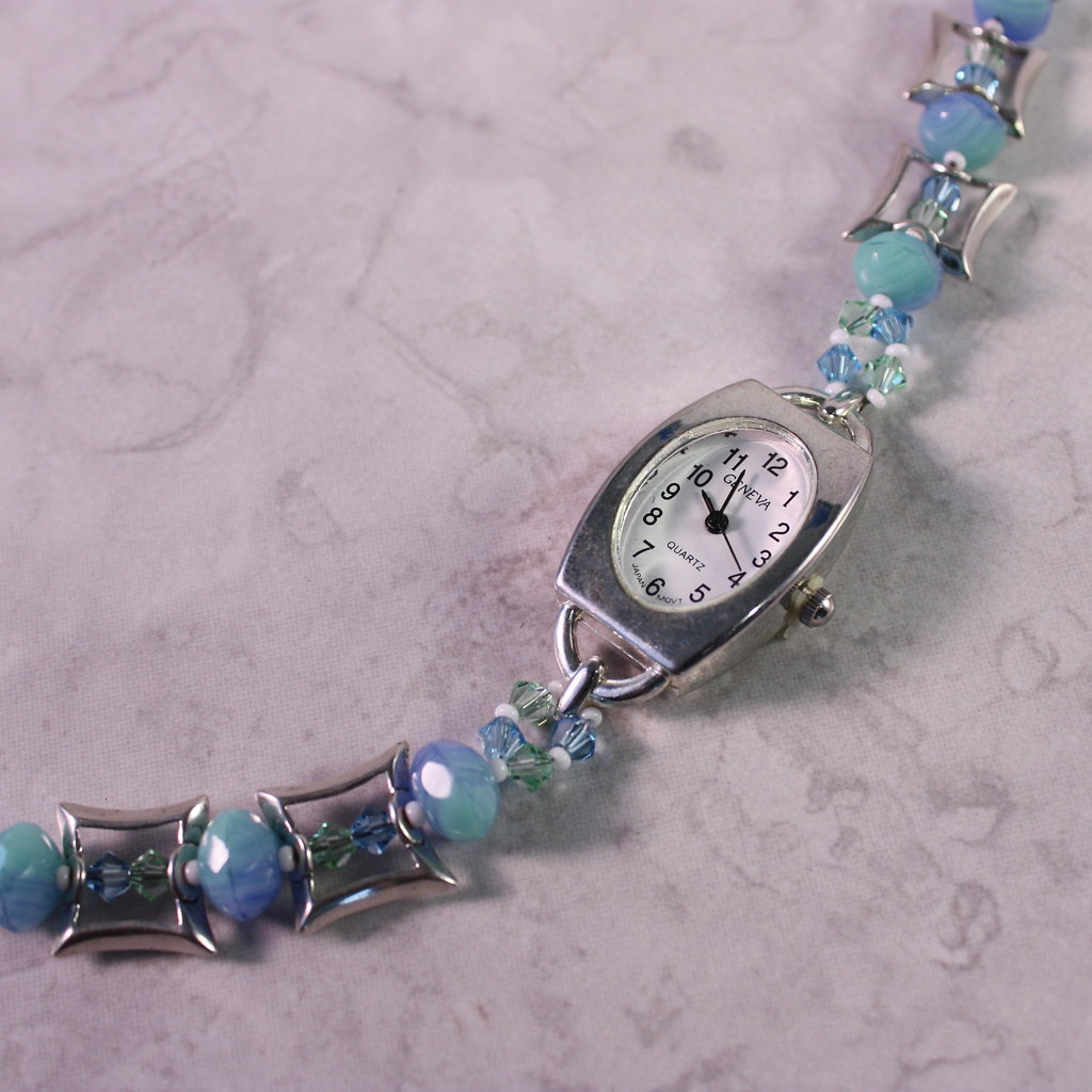 Blue Green Swirl and Aquamarine Crystal Watch